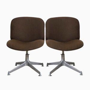 Mid-Century Schreibtischstühle aus Palisander & Braunem Stoff von Ico Parisi für MIM, 1958, 2er Set