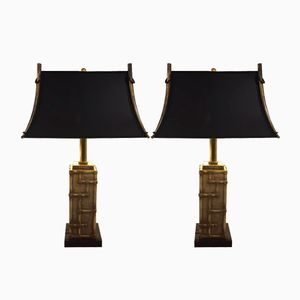 Vintage Italian Brass Table Lamps, Set of 2
