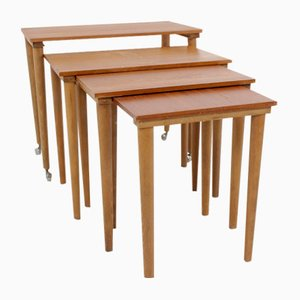 Tables Gigognes Mid-Century en Teck, Scandinavie, Set de 4