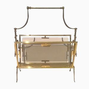 Mid-Century Brass and Glass Magazine Rack, 1950s