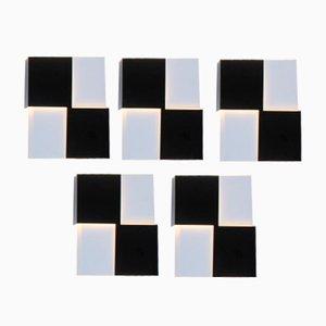 Applique Mid-Century in metallo bianco e nero di J.J.M. Hoogervorst per Anvia, Olanda, set di 5