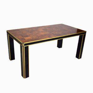Vintage Italian Lacquer & Walnut Dining Table by Willy Rizzo