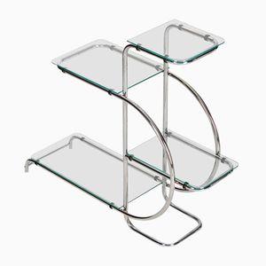 Art Deco Stahl & Glas Etagère, 1930er