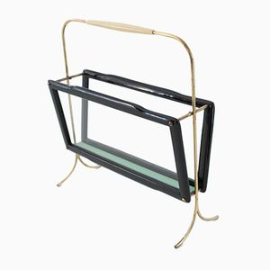 Mid-Century Italian Brass, Glass and Wood Magazine Holder, 1950s