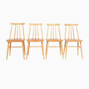 Vintage Scandinavian Dining Chairs in Beech Plywood from Møbelfakta, Set of 4