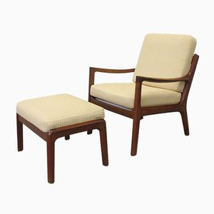 Vintage Teak Senator Chair & Stool by Ole Wanscher for Cado