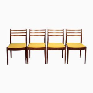 Gelbe Vintage Esszimmerstühle, 4er Set