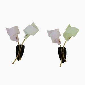 Appliques Murales avec Deux Lampes, Italie, 1950s, Set de 2