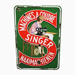 Enameled Singer Sewing Machines Sign from Emallerie Belge Brux, 1938