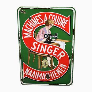 Signe de Machines à Coudre Singer Émaillé d'Emallerie Belge Brux, 1938