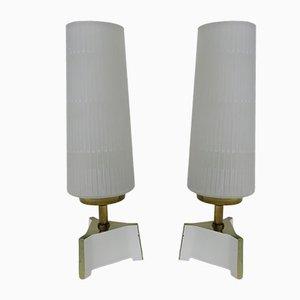 Lampes de Chevet en Laiton et Verre, 1950s, Set de 2
