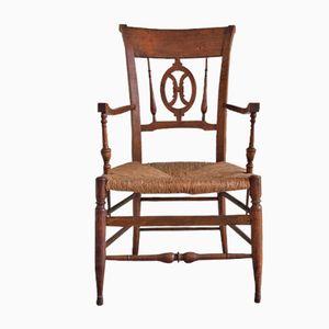 Antiker Direktoren Armlehnstuhl aus Buche
