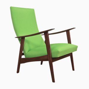 Dänischer Mid-Century Lounge Stuhl aus Teak & Grünem Stoff, 1960er