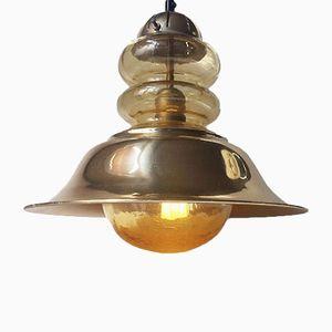 Vintage Danish Nautical Brass & Glass Ceiling Light from Vitrika