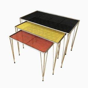 Vintage Perforated Metal Nesting Tables