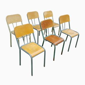 Vintage Wood & Metal School Chairs, Set of 6