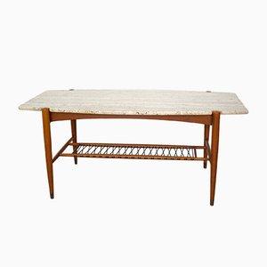 Couchtisch in Surfbrett Form mit Travertin Tischplatte, 1950er