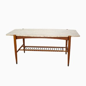 Surfboard-Shaped Coffee Table with Travertine Top, 1950s