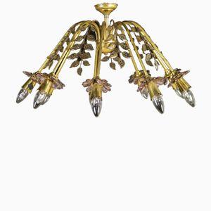 Italian Brass & Glass Hanging Lamp, 1950s