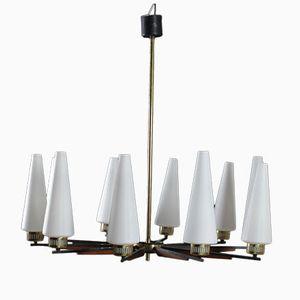 Mid-Century Italian Brass Metal Teak and Opaline Glass Hanging Lamp, 1950s