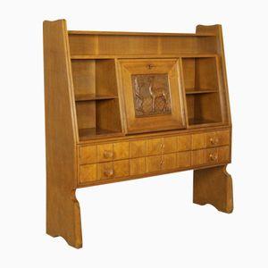 Vintage Italian Oak Veneer Cabinet with Carvings, 1940s