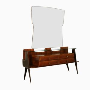 Vintage Italian Rosewood Veneer Glass and Brass Chest of Drawers with Mirror, 1950s