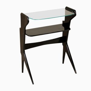 Vintage Italian Ebony Stained Wood and Glass Console, 1950s