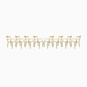 Mid-Century Bambus Esszimmerstühle, 8er Set