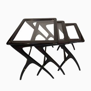 Vintage Nesting Tables in Black Lacquered Metal and Glass