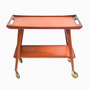 Mid-Century Danish Teak Bar Cart with Pull Handle