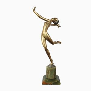 Large Art Deco Bronze & Onyx Sculpture by Josef Lorenzl, 1930s