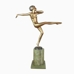 Scultura in bronzo e onice di Josef Lorenzl, Austria, anni '30