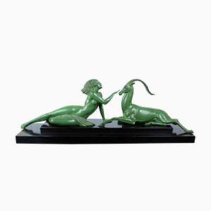 Vintage Seduction Art Deco Metall Skulptur von Fayral für Max Le Verrier