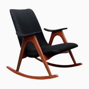 Chaise à Bascule en Teck par Louis van Teeffelen pour WéBé, Pays-Bas, 1960s