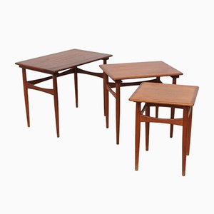 Vintage Danish Nesting Tables in Brown Teak