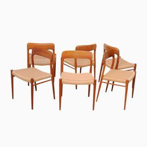 Chaises de Salon Vintage par Niels O. Møller pour J.L. Møllers Møbelfabrik, Set de 6