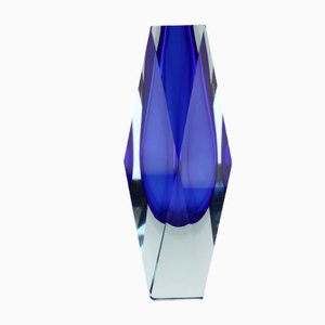 Vintage Deep Blue and Clear Faceted Sommerso Glass Vase by Alessandro Mandruzzato for Murano