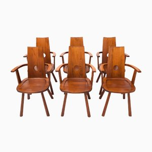French Mid-Century Dining Chairs, Set of 6