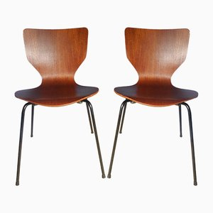 Mid-Century Danish Teak Stacking Chairs, Set of 2