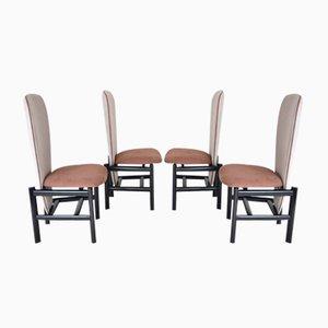 Chaises de Salon Mid-Century à Haut Dossier en Chêne, Pays-Bas,Set de 4
