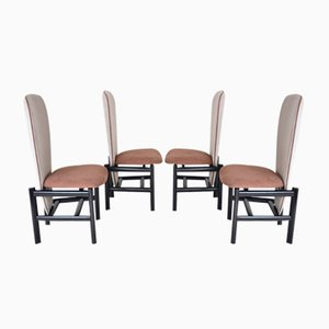 Mid-Century Dutch High-Back Oak Dining Chairs, Set of 4