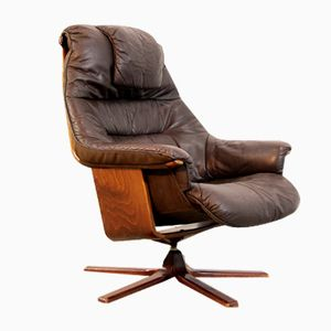 Brown Leather Swivel Lounge Chair from Göte Möbel, 1980s