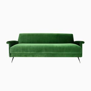 Mid-Century Italian Green Velvet Sofa