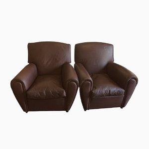 Braune Vintage Sessel von Poltrona Frau, 2er Set