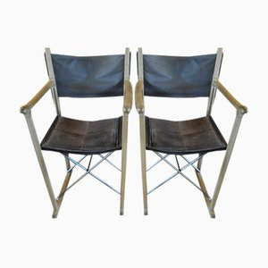 Vintage Oak and Leather Folding Chairs by Peter Karpf for Skagerak, Set of 2