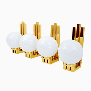 Vintage Art Deco Style Brass & Glass Wall Lights, Set of 4
