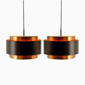 Vintage Saturn Pendants in Copper and Black Metal by Jo Hammerborg for Fog & Morup, Set of 2