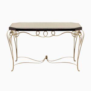 Table Rectangulaire Vintage Art Déco en Fer Doré par René Drouet, France