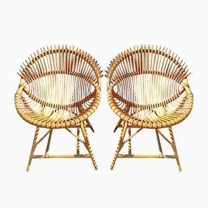 Rattan Round Armchairs from Bonacina, 1950s, Set of 2