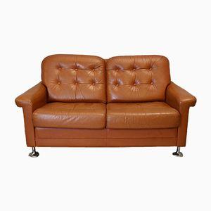 Dänisches Braunes Leder Zwei-Sitzer Sofa, 1970er